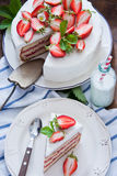 läcker jordgubbe för cake Royaltyfria Foton
