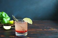 Läcker kryddig alkoholcoctail med garnerade starksprit och limefrukt Arkivfoton