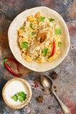 Läcker kryddig feg biryani i keramisk bunke på lantlig bakgrund med kryddor, indier- eller pakistaniermat Top beskådar arkivfoto