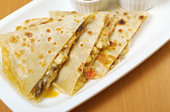 Läcker mexicansk quesadilla Fotografering för Bildbyråer
