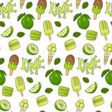 Läcker modell för sömlös vektor för glass- och limefruktfärg handdrawn vektor illustrationer