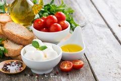 Läcker mozzarella och ingredienser för salladen Arkivbilder