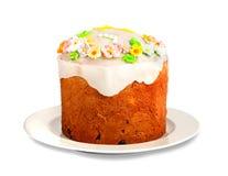 Läcker muffin för påsk på isolerad vit Fotografering för Bildbyråer