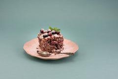 Läcker nissekaka med tranbäret på tappningrosa färgplattan över turkosbakgrund, kopieringsutrymme Royaltyfri Foto