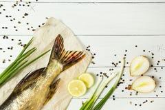 Läcker ny fisk med aromatiska kryddor på en vit trätabell Utrymme för text, bästa sikt royaltyfri fotografi