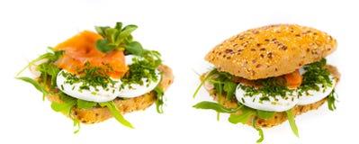 Läcker och sund smörgås Arkivfoton