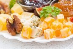 läcker ost- och fruktplatta till ferien, selektiv fokus Royaltyfria Bilder