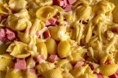 Läcker pasta med ost och fint - huggen av korv arkivfoton