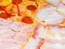 Läcker pizza med olika typer av korvar Fotografering för Bildbyråer
