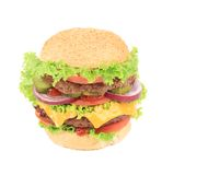 Läcker saftig hamburgare Arkivbild