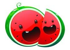 Läcker saftig ljus tecknad film två för vattenmelon Arkivfoto