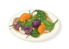 Läcker sallad på plattan som isoleras på vit bakgrund Smakligt mål för restaurangveggiestartknapp som göras av frukter, muttrar o stock illustrationer