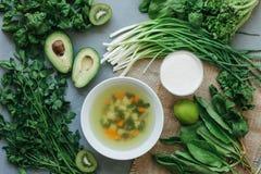 Läcker soppasmoothie för grön mat Arkivbild