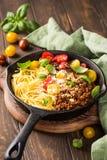 Läcker spagetti Bolognaise Arkivbild