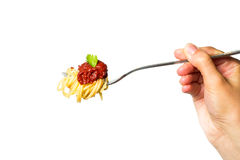 Läcker spagetti på gaffel Närbild vitt Royaltyfri Fotografi
