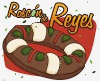 Läcker spansk `-Roscon de Reyes ` med Fava Bean för epiphanyen, vektorillustration Arkivbild