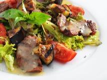 Läcker sund varm sallad med nötkött och grönsaker Arkivbild