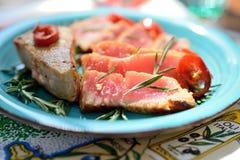 Läcker tonfiskbiff Fotografering för Bildbyråer