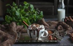 Läcker varm choklad med marshmallower, muttrar och kanel på ett tappningmagasin, med mintkaramellen och mjölkar på bakgrunden, se Royaltyfria Bilder