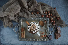 Läcker varm choklad med marshmallower, muttrar och kanel på ett tappningmagasin, selektiv fokus Arkivbilder