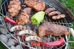 Läcker varmkorv och grillfestkött Arkivbild