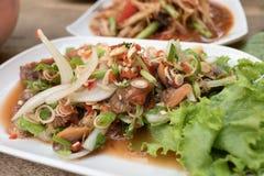 Läckert för thailändsk kryddig sallad för kammusslor kryddigt: royaltyfri foto