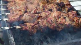 Läckert grillat grisköttkött på på galler lager videofilmer