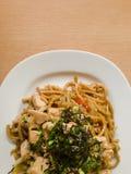 Läckert japanskt kokkonstYakisoba slut upp Fotografering för Bildbyråer