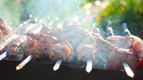 Läckert kött för grillfest som lagas mat på gallret Ett grillfestparti Grisköttstycken av kött som grillas på en öppen brand lager videofilmer