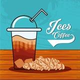 Läckert med is kaffe med sugrör i trätabell stock illustrationer