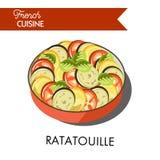 Läckert ratatouillemål från fransk kokkonst isolerade illustrationen royaltyfri illustrationer