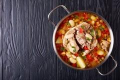 Läckert rikt griskött och grönsaksoppa arkivfoto