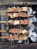 Läckert seende fårkött och nötkött på BBQ Fotografering för Bildbyråer