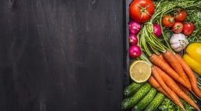 Läckert sortiment av nya grönsaker för lantgård med nya morötter med körsbärsröda tomater, vitlök, citronrädisa, peppar, gurkor p Royaltyfria Bilder
