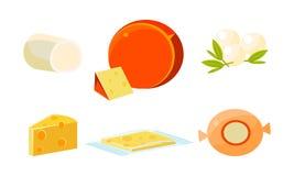 Läckert sortiment för ny ost, för produktvektor för olika typer ny ostliknande illustration vektor illustrationer