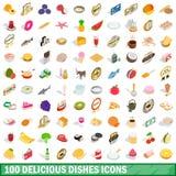 100 läckra disksymboler ställde in, isometrisk stil 3d Fotografering för Bildbyråer