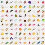 100 läckra disksymboler ställde in, isometrisk stil 3d Arkivfoto