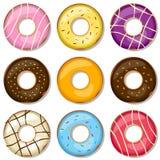 läckra donuts för samling Arkivfoto