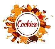 Läckra frasiga kakor med choklad och den kräm- befordrings- affischen vektor illustrationer