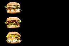 Läckra hamburgare Fotografering för Bildbyråer