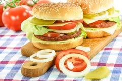 Läckra hemlagade hamburgare arkivbilder