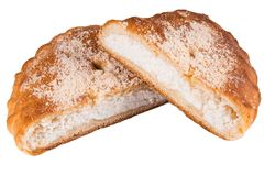 Läckra kakor med keso på vit bakgrund Hemlagade kakor, bageri Cafe arkivbilder