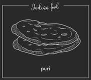 Läckra mjuka varma puriloaves från indisk mat Fotografering för Bildbyråer