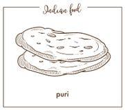 Läckra mjuka varma puriloaves från traditionell nationell indisk mat vektor illustrationer