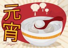 Läckra nya Tangyuan med lyktor för den Yuanxiao festivalen, vektorillustration Royaltyfri Bild