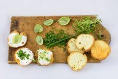Läckra nya vårgrönsaker och rostade bröd för frukosten, whit royaltyfria foton