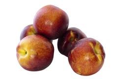 Läckra persikor, isolat Arkivfoto