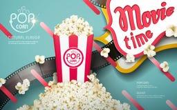 Läckra popcornannonser stock illustrationer