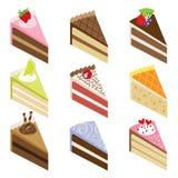 läckra skivor för cake stock illustrationer