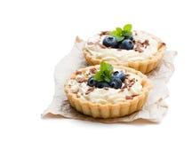 Läckra tarts med det kräm- och nya blåbäret som isoleras på whit Royaltyfri Foto